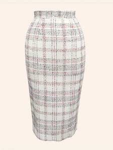 Cream plaid pencil-skirt - Vivien of Holloway - £59