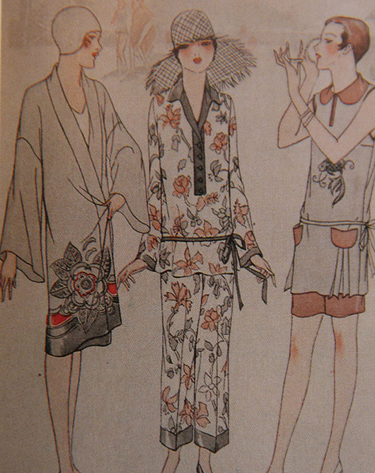 Early beachwear - Chinese coolie coat, Chinese beach pyjamas, dressmaker two-piece bathing suit. McCall Quarterly, summer 1927