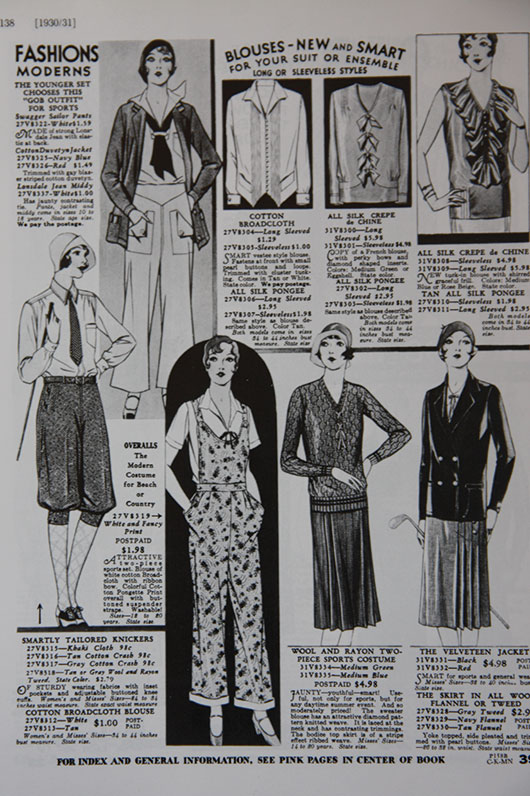 The 'gob' trouser is featured here with a middy blouse and below as part of an overall for 'beach or country wear' 1930/1931