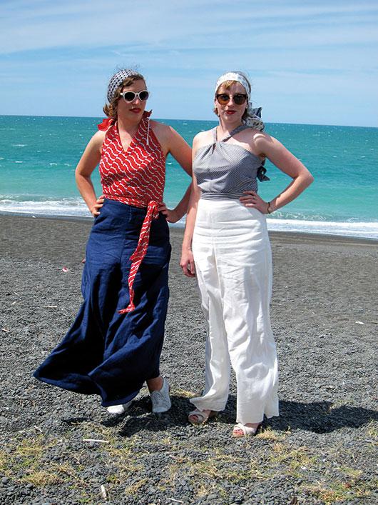 Leimomi 'The Dreamstress' and fellow blogger Kirsten in their home sewn beach pyjamas, Art Deco Weekend 2015