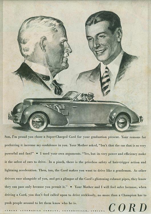 Advert for 1937 Cord 812 Convertible Phaeton Sedan