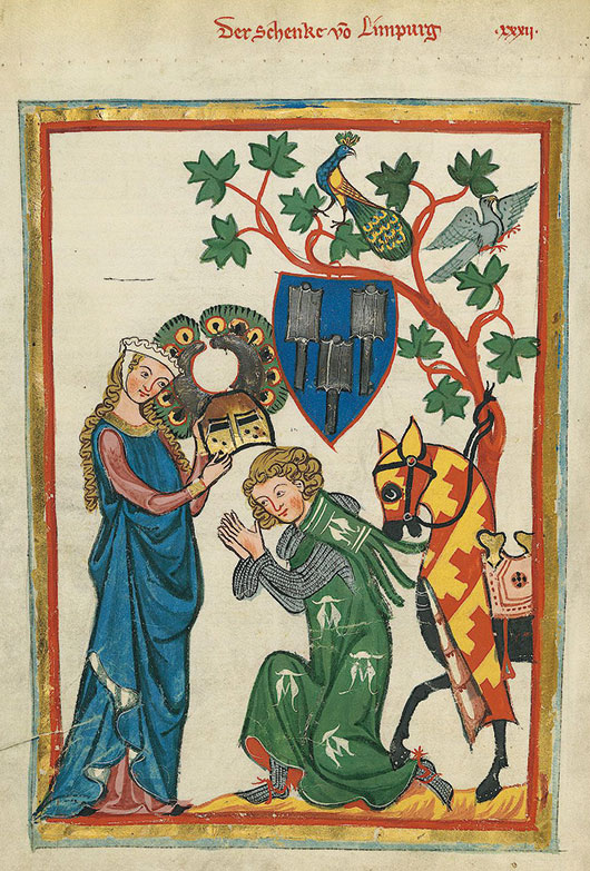 Konrad von Limpurg as a knight being armed by his lady in the 'Codex Manesse'