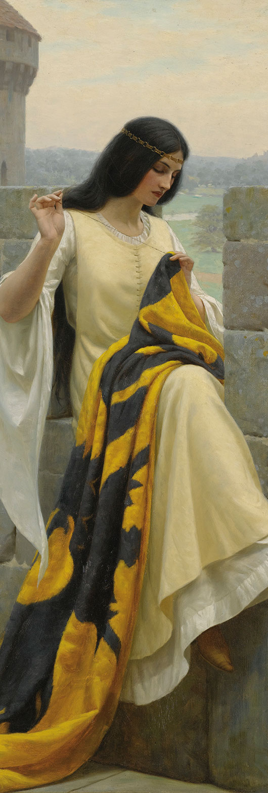 A lady prepares for a knight to go to war in 'Stitching the Standard' by Edmund Blair Leighton (1911).