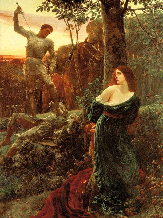 Depiction of a damsel in distress in 'Chivalry' by Frank Bernard Dicksee (1885).